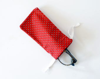 Glasses case , sun glasses cases , cherry, red  , favor bag, birthday party, drawstring bag , little gift , christmas, red , red pouch