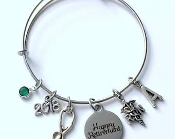 Retirement Gift for RN Nurse, 2018 or 2017 Women Charm Bracelet Jewelry Silver Bangle Coworker letter Mom initial birthstone Retire Present