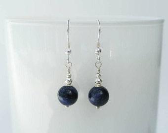 Silver Blue Drop Earrings - Sterling Silver Earrings with Sodalite Royal Blue Drops
