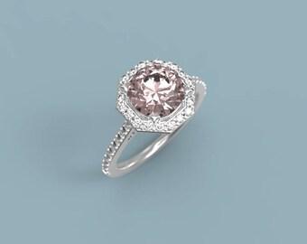 White Gold Morganite Halo Engagement Ring Morganite Diamonds Ring Morganite Ring White Gold Ring Morganite Halo Ring Halo