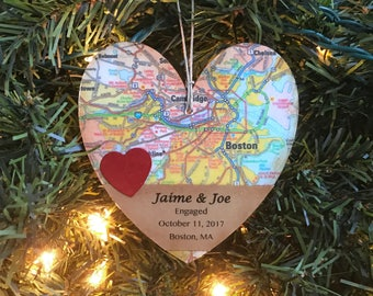 Personalized Engagement Ornament, Newly Engaged Ornament, Engagement Gift For Couple, Wedding Shower Gift, Engagement Date, Map Ornament