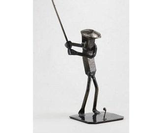Golfer   Metal Art   Golf figurine   Railroad spike art   Metal Art golf   golfer art