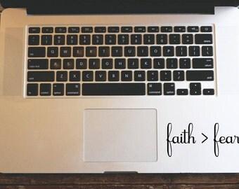 Faith Over Fear Sticker, MacBook Decal, Faith Decal, Typography Stickers, Tumbler Decal, Christian Car Decal, Faith Sticker, Laptop Decal