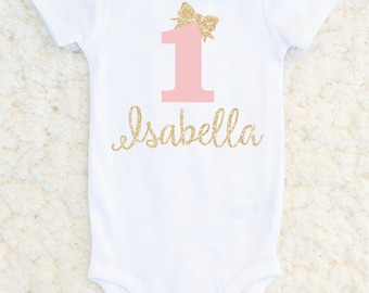 First Birthday Outfit Girl - First Birthday Glitter Bodysuit - Baby Girl - Sparkle Birthday Outfit - 1st Birthday Personalized One Piece