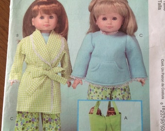"McCall's doll sleepwear pattern, robe for 18"" doll, pajamas for 18"" doll, tote for dolls, arm pillow for dolls, sleeping bag for dolls"
