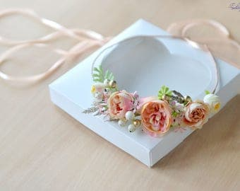 Peach gold cream Floral head wreath Wedding Flower crown Delicate flower halo Bride crown Rose David Austin Bridal hair wreath Flower girl