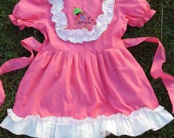 Vintage baby girl dress Embroidered girl dress Pink toddler dress Soviet girl dress Pleated dress Russian vintage girl dress Russian antique