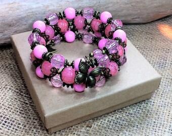 Pink beaded bracelet, butterfly bracelet, triple wrap, memory wire bracelet, handmade Valentine, birthday gift, unique bracelets for women