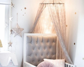 Lace Crib CanopyPrincess Bed Canopy Wall Decor Choice of Color & Crown Crib Canopy Bed Crown Gold Princess Wall Decor