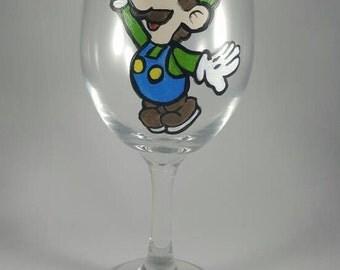 Paper Mario Luigi Inspired Hand-painted Wine Glass