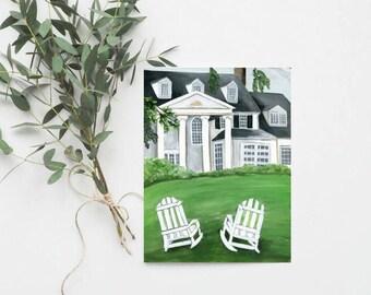Custom Wedding Venue Painting Save the Date   Engagement Announcement   Venue Illustration   Wedding Invitation Stationery