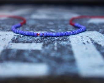 Kabbalah Bracelet - Purple beaded bracelet, Mens gift for him Husband Gift , Saint Valentine Gift Men, San Valentin Gift Men, Mens Seed Bead