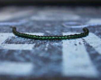 Green Bracelet for Men - Seed Bead Mens bracelet - Wish Bracelet - Light Gray String, Mens gift for him Husband Gift , Mens Seed Bead