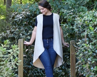 Handmade Long Linen Vest