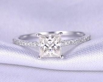 1ct Moissanite Engagement Ring 5.5mm Princess Cut Moissanite Ring Solid 14k White Gold Diamond Wedding Band Diamond Promise Ring Bridal ring
