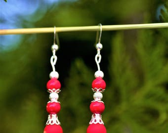 Red Silver earrings, Dangle Drop Red earrings, Silver Drop earrings, Red beaded earrings, Red Beaded Silver jewelry, Gift for Best friend