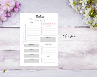 A5 | DO1P | Printed | Planner | Insert | Day on 1 page | Filofax | Kikkik | Grey & pink | 1 month | 32 Days