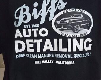 Biffs Auto Tshirt, Hill Valley California, BTTF, Biff Tannen, Marty McFly, Doc Brown, Delorean, Geek Tshirt, Geek Gift, Back To The Future