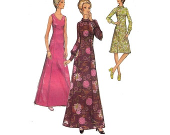 "Style 3405, 70s sewing pattern, size 16 bust 38"" women's dress pattern, high neck dress, panelled skirt, maxi dress"