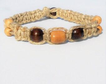 Thick Hemp Choker Necklace Wooden Beads
