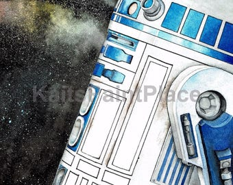 R2-D2 Stargazing Watercolor Print