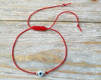 Friendship bracelet, Evil eye bracelet, Protection bracelet, Dainty bracelet, Best friend gift, White evil eye adjustable string bracelet