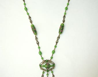 Superb Antique 1920s Art Deco Czech Sautoir Necklace with Venetian Murano Glass Beads