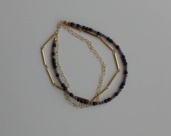 Black Beaded Anklet, Purple Beaded Anklet, Gold Anklet, Foot Jewelry, Beach Jewelry, Foot Bracelet, Birthday Gift, Gift Idea, Ankle Bracelet