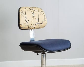 Vintage Chrome Office Chair – Japanese Cat Fabric