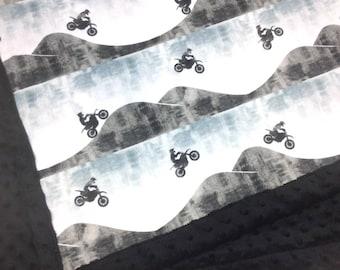 Motocross Baby Blanket, motorcycle minky blanket, bike blanket, gray black white blue blanket, boy blanket, cuddle, baby shower gift, birth