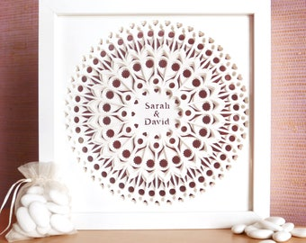 "MANDALA DIVINE 25cm/10""- 3 layers of lace like cut white paper, double sided glass shadowbox"