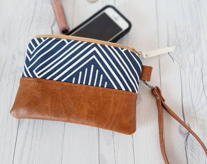 Featured listing image: Navy Blue Wristlet, Wristlet Wallet, Womens Wallet, Faux Leather, Small Crossbody, Phone Wallet, Wristlet Purse, Geometric, Bridesmaid
