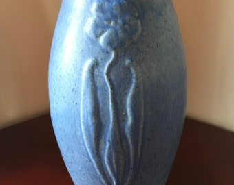 Vintage Zanesville Stoneware Pottery Vase, Shape 101, Matte Blue Glaze, Embossed Flowers, Arts and Crafts, Antique Pottery, 1930's