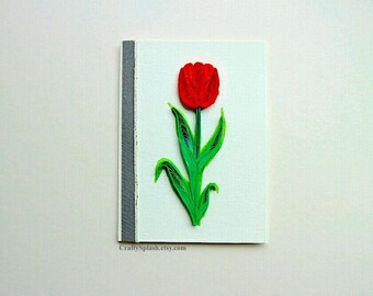Tulip flower card- single flower red orange tulip blank card- Handmade greeting card