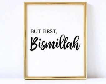 Islamic wall art, Bismillah, Instant Download