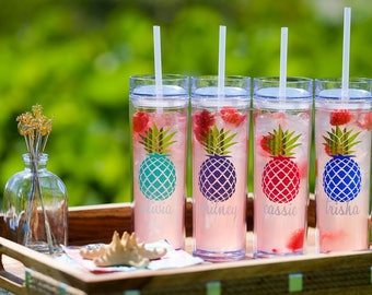 Pineapple Tumbler, Bridesmaid Gift/Skinny Tumbler, acrylic tumbler, Personalized Water bottle/Bridal Party Gift/Wedding Party Tumbler