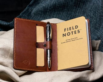 Wickett & Craig Field Notes Cover Pen Holder / Moleskine Cover - Med Brown Full Grain Leather / Moleskine Wallet / Personalized/Cahier Cover