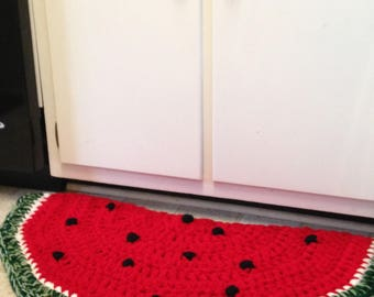 Superior Half Moon, Crocheted Watermelon Kitchen Rug