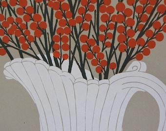 Vintage Silkscreen Print/ Berry Branch and Pitcher/Original Art