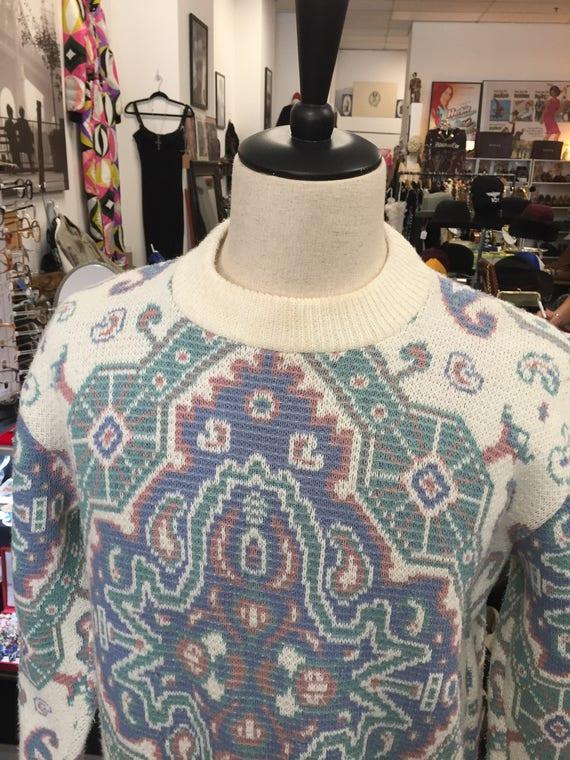 Vintage 1990s Men's Paisley Print Pullover Sweater Sz L