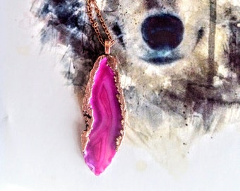 Electroformed Hot Pink Agate Pendant //Copper Chain // Agate Slice Necklace, Agate Geode Necklace.
