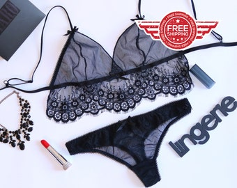 See through lingerie, see through bra, sexy bra, black bra, erotic bra, hot bralette, lace bra, soft cup bra
