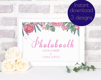 Photobooth sign, Photo booth sign, Photobooth wedding sign, Grab a prop sign, Strike a pose sign, wedding printable sign #RUBY