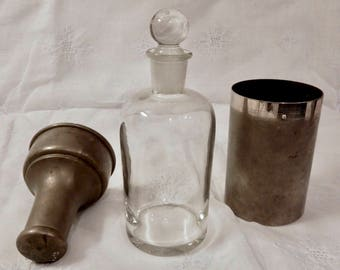 Vintage Clear Apothecary Glass Bottle and Stopper with Nickel and Brass Storage Container