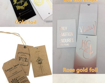 die cut hang tags, custom die cut tags, custom shaped hang tags, die cut paper tags