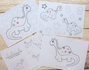15 Dinosaur Colouring Sheets A5 | Party Activity