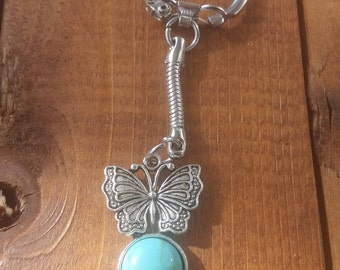 Silver Butterfly Turquoise Keychain