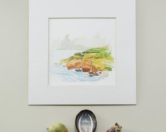 Original Watercolor, Maine Coast, Landscape, Seascape, Painting