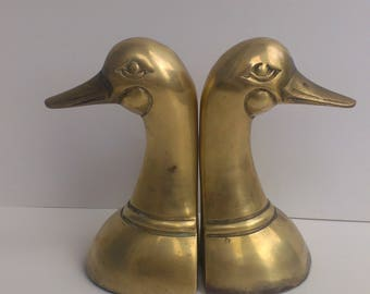 Duck Head Bookends - Mid Century Modern Vibes - Vintage Solid Brass
