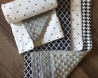 Premium Cotton and Minky Black, White, and Gray Burp Cloth and Stroller Blanket Set